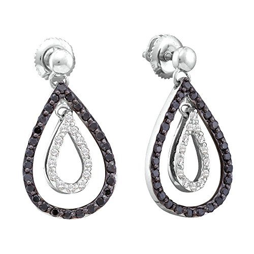 14kt White Gold Womens Round Black Colored Diamond Double Teardrop Dangle Earrings 3/4 Cttw = 0.8 Cttw (I2-I3 clarity; Black color)