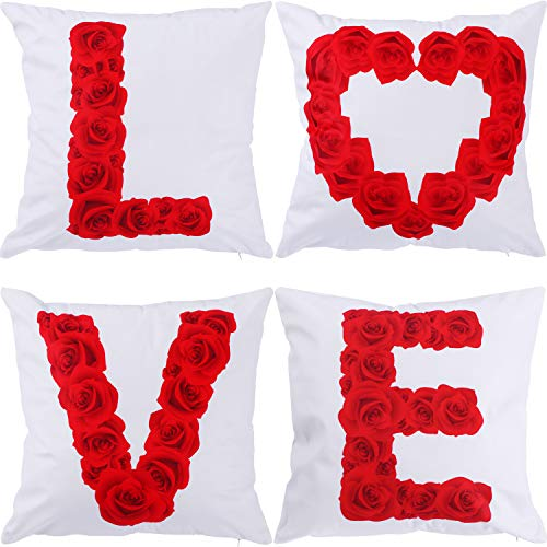 Gejoy 4 Pieces Square Pillow Case Back Cushion Cover for Valentine's Day Halloween St. Patrick's Day Easter Sofa Bedroom Decoration, 18 by 18 inch (Color Set -
