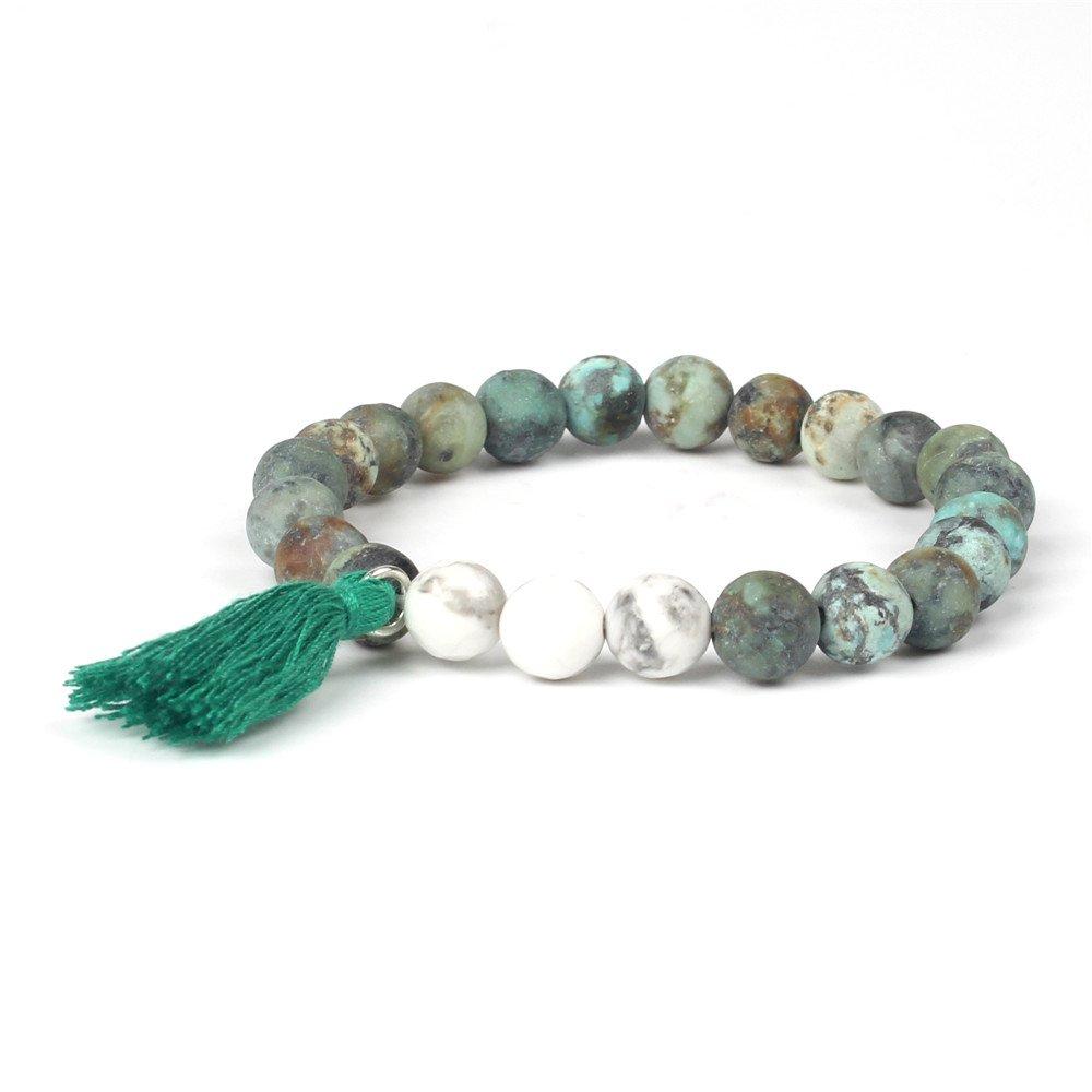 Shinus?Women Mala Beads Chakra Boho Bracelets African Turquoise Tassel Statement Handmade Healing Friendship Jewelry Gifts