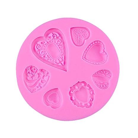 Wildlead DIY Fondant Hacer moldes de Silicona en Forma de corazón Herramienta de decoración de Pasteles