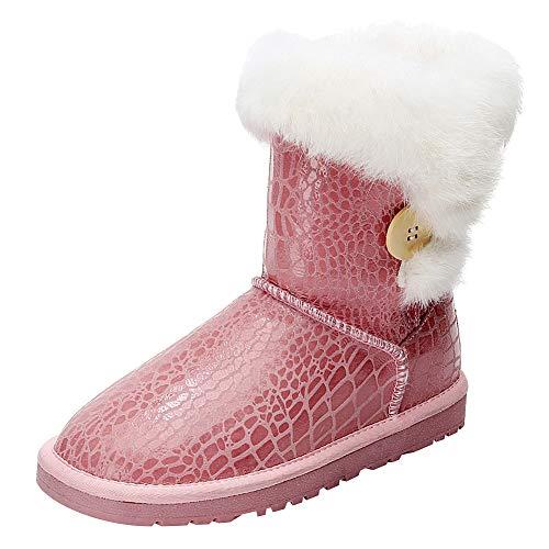 Bottone Bottone Caldo da Vitello rismart Medio Rosa Neve Neve Neve Fatto Stivali a Mano Donna Moda cUxawI
