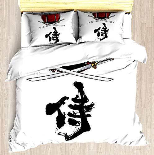 SNRBED Samurai Katana Tori gate Kanji Duvet Cover Set Soft Comforter Cover Pillowcase Bed Set Unique Printed Floral Pattern Design Duvet Covers Blanket Cover - Twin/XL