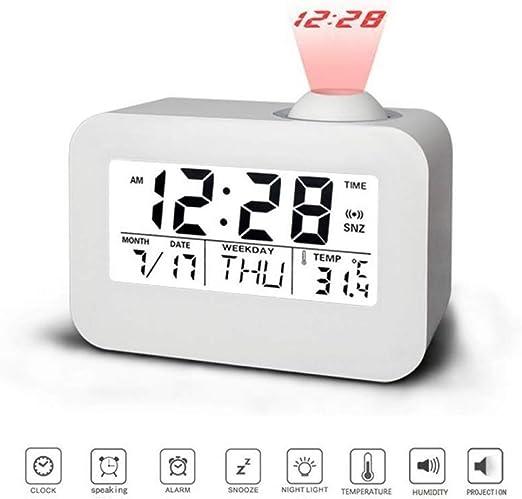 Yongan Reloj Despertador Digital Proyector, Multifuncional Reloj ...
