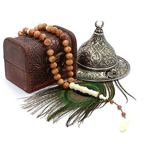 Elegant Islamic Tesbih, Camel Bone-Kuka Skimmer Tree Wood Design #2, 33 Count Tasbih Prayer Beads, Misbaha - Haji Beads ()