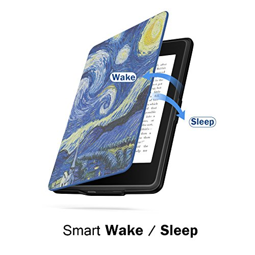 MoKo Case for Kindle Paperwhite, Premium Thinnest and Lightest PU Leather Cover with Auto Wake/Sleep for Amazon All-New Kindle Paperwhite (Fits 2012, 2013, 2015 and 2016 Versions), Starry Night by MoKo (Image #6)