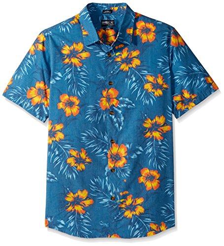 O'Neill Men's ALA Moana Short Sleeve Woven Shirt, Ocean, - Shops Ala Moana