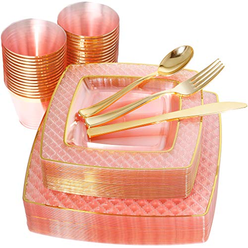 NERVURE 150PCS Pink with Gold Sqaure Plastic Plates & Gold Silverware Set:25 Dinner Plates 10.25