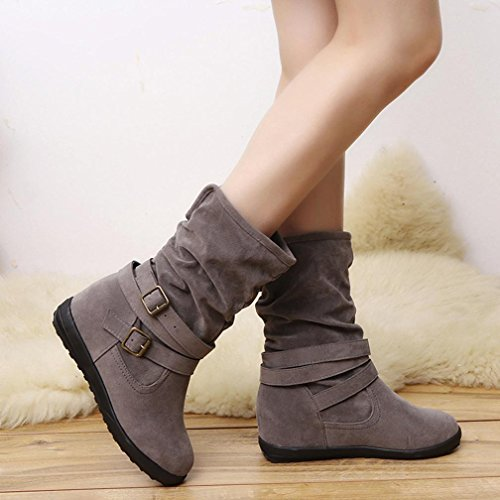 (Hemlock Womens Booties, Ladies Winter Warm Calf Boots Slip On Snow Women Shoes Booties (US:8.5, Grey))