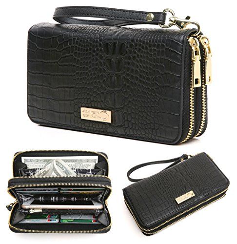 CrossLandy Women's Double Zip Around Wallet Large Clutch Organizer with (Designer Wallet Purse)