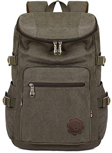 BEFAiR Men Medium Army Green Canvas College Backpack 15 inch Laptop Bag Schoolbag Vintage Hiking Daypack College Green