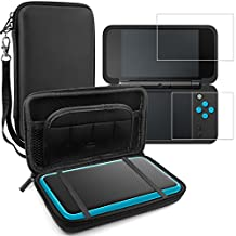 Protective Case for Nintendo New 2DS XL with Screen Protectors, AFUNTA Tempered Glass Films for Top and Bottom Screen, 1 Silicone Shield Shell Cover and 1 EVA Carrying Case for 2DSXL Console