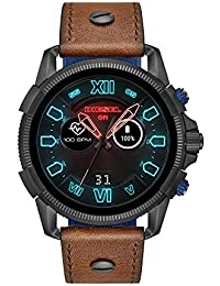 Men's Stainless Steel Touchscreen Watch with Leather Band Strap, Brown, 24 (Model: DZT2009)