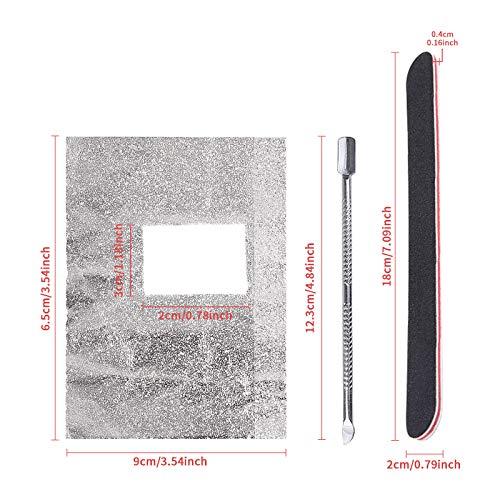 CINEEN 100 Stück Nail Polish Remover Wraps Pads, Ultradünnes Nagellack Remover Aluminiumfolie und 1 Stück Nagelhaut Schieber und 1 Nagelfeile Streifen, für Gelnägel,Maniküre&Pediküre