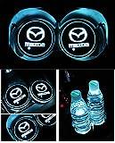 Car Logo LED Cup Pad led cup coaster USB Charging Mat Luminescent Cup Pad LED Mat Interior Atmosphere Lamp Decoration Light (Mazda)