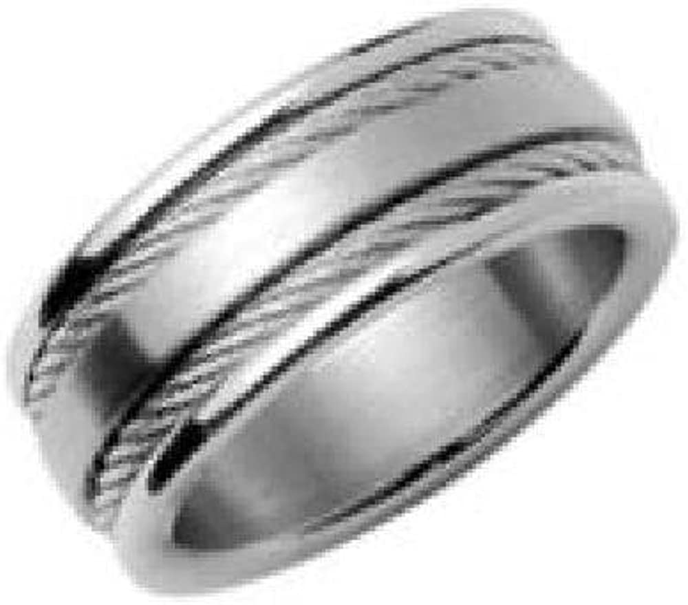 Your Message Engraved Free So Chic Jewels Customisable Stainless Steel 2 Cable Band Ring