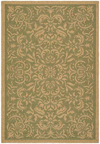 Safavieh Courtyard Collection CY6634-44 Green and Natural Indoor/ Outdoor RECTANGLE Area Rug, 8 feet 11 inches by 12 feet (8'11