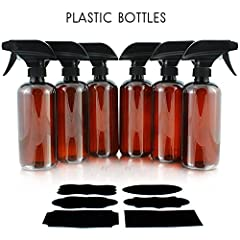 16oz Amber Brown Empty PLASTIC Spray Bottles with Heavy Duty Mist & Stream Sprayers & Chalkboard Labels (6-pack); Use for Homemade Cleaners, , Cooking Spray Mixes, Spraying Food While Grilling, DIY Bug Spray, Misting Houseplants and M...