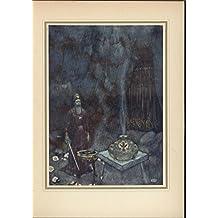 Magical Ceremony Smoke Billowing Dark Cavern c.1912 old vintage color print