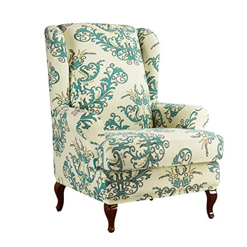 subrtex Spandex Printed Wing Back Armchair Covers Floral Universal Chair Slipcovers Furniture Protector (Green)