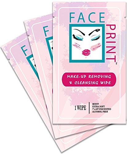 Face Print - Body Wipe Company - Premium makeup removing wipes - Facial cleansing towelettes - 40 Individual Packs