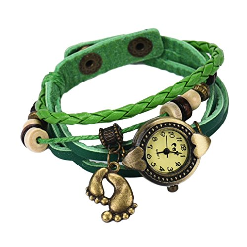 HongXander Quartz Weave Around Leather Footed Bracelet Lady Woman Wrist Watch (Footed Rhinestone)