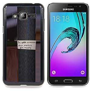 "Qstar Arte & diseño plástico duro Fundas Cover Cubre Hard Case Cover para Samsung Galaxy J3(2016) J320F J320P J320M J320Y (Polo metal mensaje de texto feliz Amor"")"