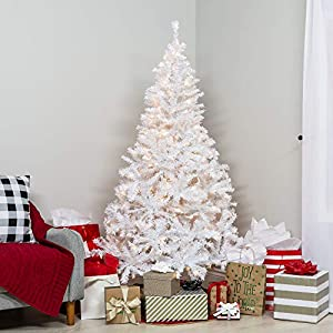 Best Choice Products 6ft Premium Hinged Artificial Christmas Pine Tree Holiday Decoration w/ 250 Warm White Lights, Solid Metal Stand, 1,000 Tips, Easy Assembly - White 2