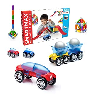 SmartMax Stunt Cars (Basic Stunt) STEM Magnetic Discovery Building Set with Moving Vehicles Featuring Safe, Extra-Strong, Oversized Building Pieces for Ages 3+