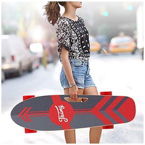 Caroma Skateboard électrique 70 cm Skateboard électrique avec moteur, planche électrique, planche en bois d'érable, moteur 350 W | portée 7 km, vitesse maximale 20 km/h