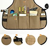 NKTM Work Apron, 600D Oxford Canvas Tool Apron With 14 Pocket to Organize Tools, Adjustable Shoulder & Waist Straps Fit Most Men & Women - Khaki