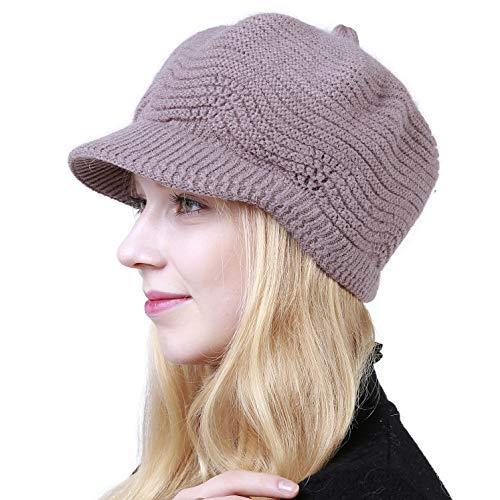 (Women's Winter Hat Slouchy Cable Knit Visor Crochet Beanie Hats Warm Snow Ski Skull Cap with Brim Khaki)