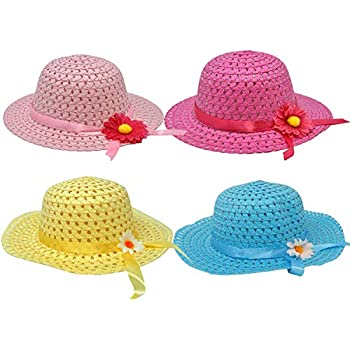 7bee0eb7c7f Gift Boutique 4 Pack Girls Tea Party Hats Assortment Sunhat Bonnet for  Little Children   Kids