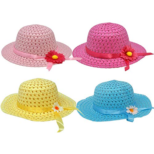 Gift Boutique 4 Pack Girls Tea Party Hats Assortment Sunhat Bonnet for Little Children & Kids Costume Dress Up, Play Time and Birthday Supplies -