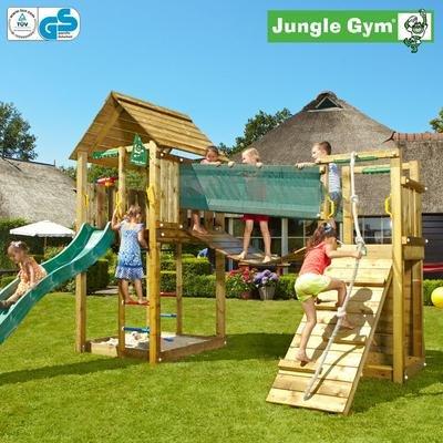 Jungle Gym Noahs CABIN - Spielturm Set mit Hängebrücke und Rutsche - Grün