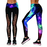 Teen Girls Ripped Leggings Realistic Galaxy Pattern Hip Hop Unique Yoga Pants M