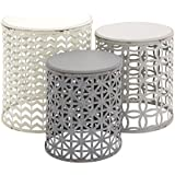 Deco 79 Metal Wood Accent Table, 22 by 19 by 17-Inch, Set of 3