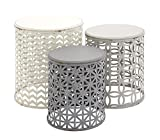 Drum Tables Living Room Deco 79 Metal Wood Accent Table, 22 by 19 by 17-Inch, Set of 3