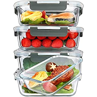 [5-Packs, 36 Oz.] Glass Meal Prep Containers with Lifetime Lasting Snap Locking Lids Glass Food Containers,Airtight Lunch Container,Microwave, Oven, Freezer and Dishwasher (4.5 Cup)