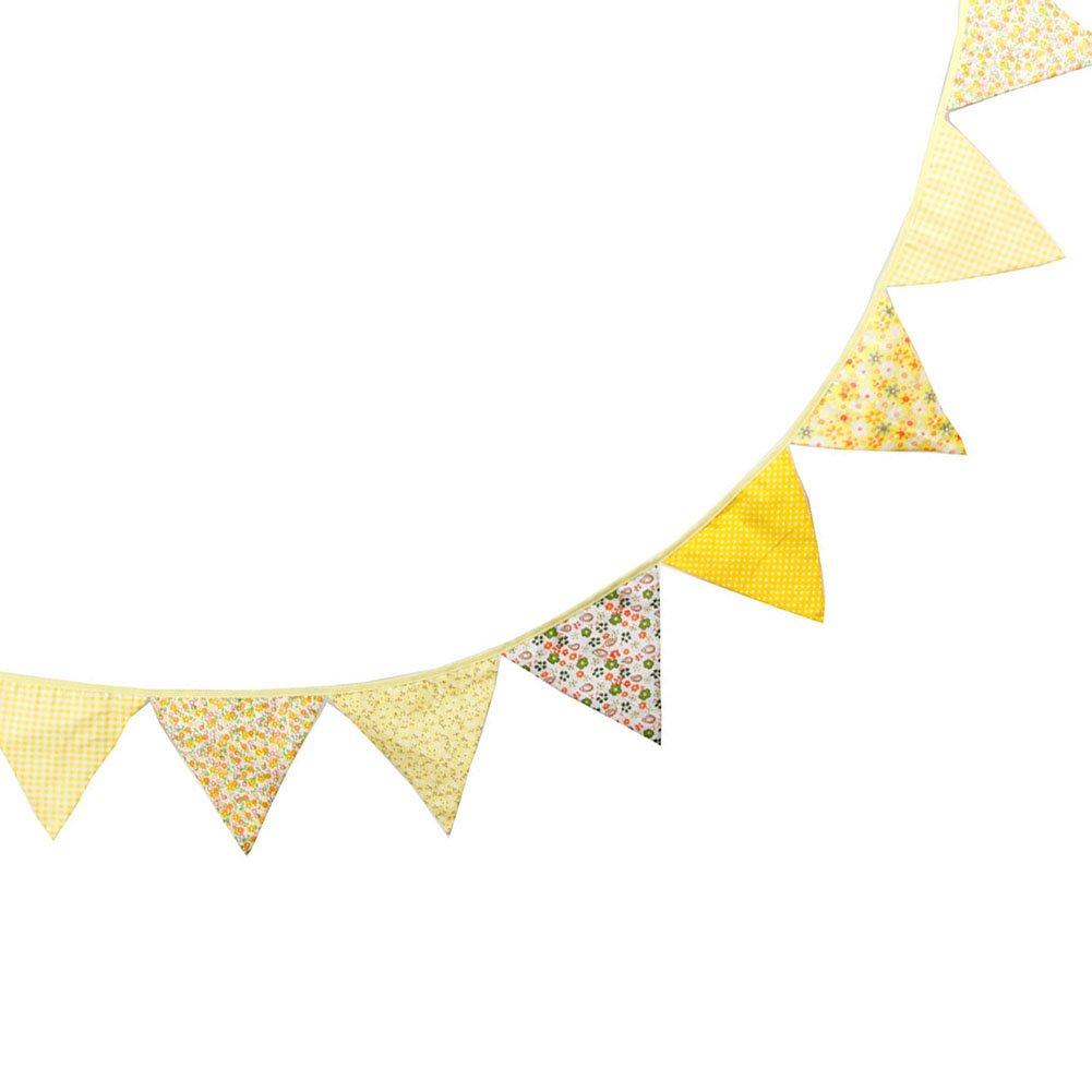 adatta per la cameretta dei bambini Blu 17*17*17CM+3.2M in stile vintage in tessuto di cotone con motivo a fiori Hacoly striscia di bandierine a forma triangolare Cotone come decorazione per i compleanni e i matrimoni