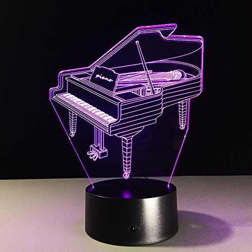Acrylic 3D Optical Illusion Musical Instrument Night Light Piano Desk Lamp 7 Color Changeable LED Night Light for Music Lovers Fans Festival Gift ...