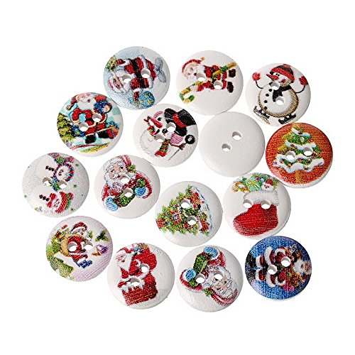 HOUSWEETY 200pcs 2 Holes Mixed Wooden Christmas Buttons Fit Sewing Scrapbook 15mm HOUSWEETYB42984-1