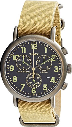 Timex Weekender Chrono Oversized | Tan Nylon Strap Black Dial | Casual (Dial Black Nylon Strap Watch)
