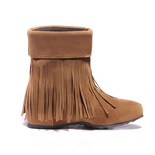 Brown Top Women's Mid Pull Toe On Frosted Low Boots AgooLar Round Heels Closed vgqA7wgOdx