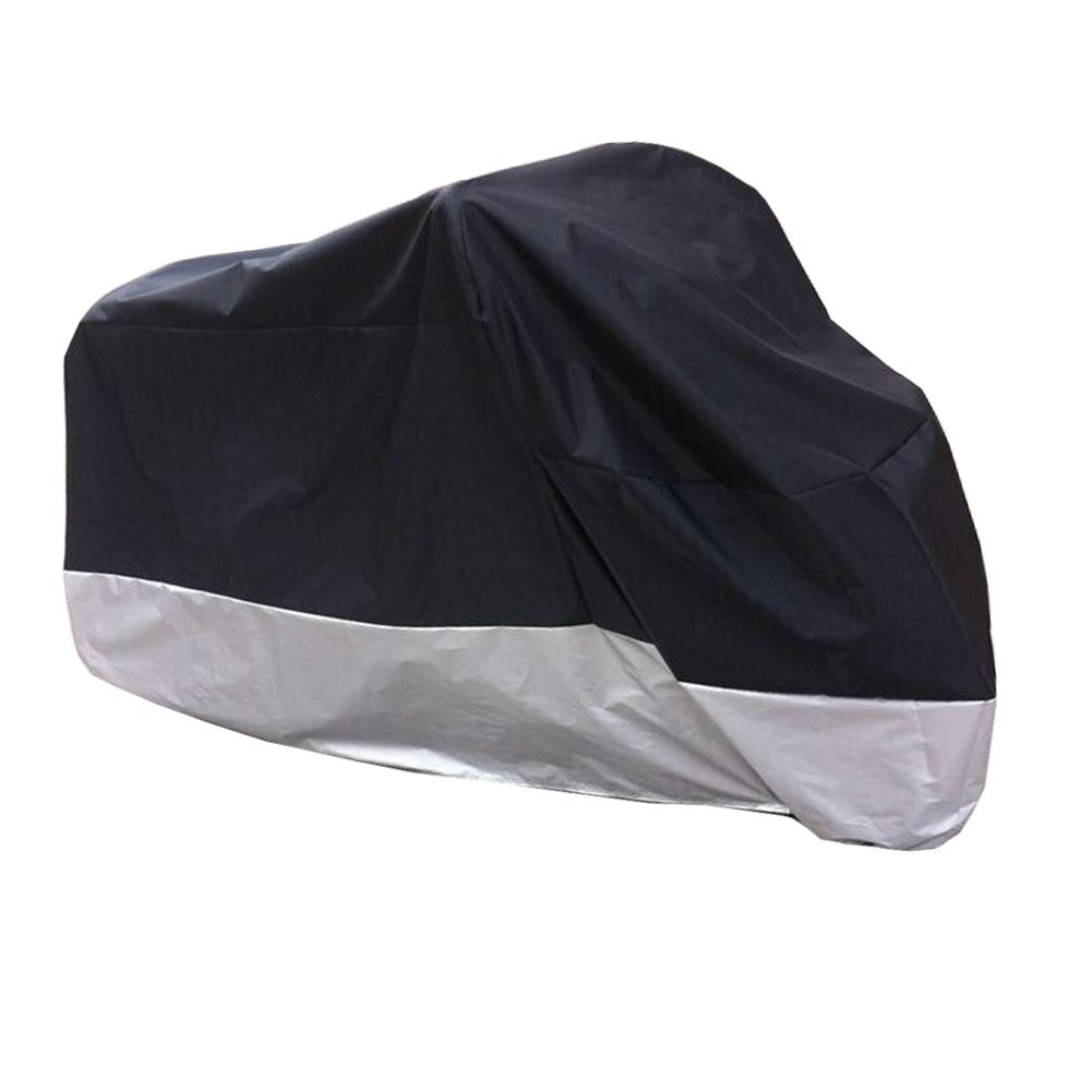 HANSWD Motorcycle Dust Cover Waterproof Uv Cover For Harley Davidson Yamaha Kawasaki Universal (XXL, Black)