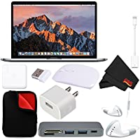 Apple 15 MacBook Pro, Retina, Touch Bar, 2.9GHz Intel Core i7 Quad Core (#MPTT2LL/A) + MicroFiber Cloth + 2.4 GHz Slim Optical Wireless Bluetooth + Padded Case For Macbook Bundle