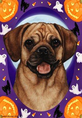 Puggle - Tamara Burnett Halloween Howls Garden Flag (Halloween 89123)
