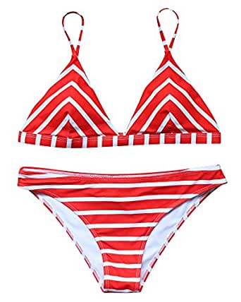 LEESMILE Triangle Printing Sexy Cheeky Bikini Set 4 Pieces Swimsuit Bathing Suit Women(S,Red)