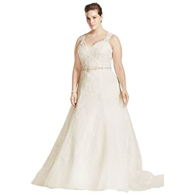 Plus Size Oleg Cassini A Line Wedding Dress With Beaded Lace Style ...