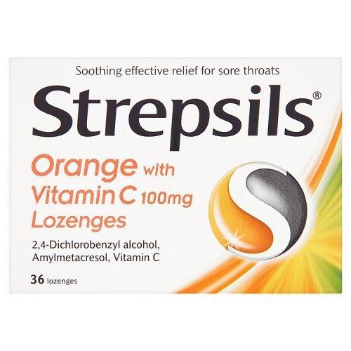 (Strepsils Orange with Vitamin C 100mg 36 Lozenges by Strepsils)