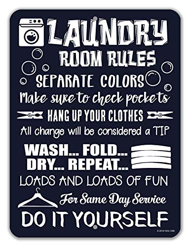 Honey Dew Gifts Laundry Room Decor, Laundry Room Rules, 9x12 Novelty Tin Funny Laundry Signs